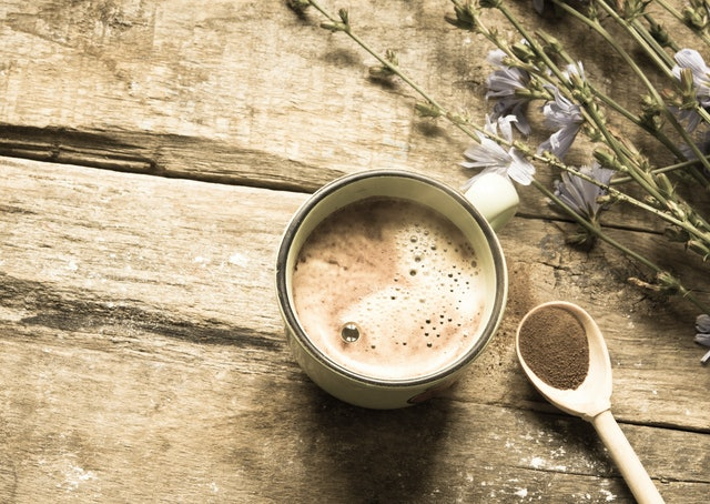 Chicory drinks and flowers/toned photo