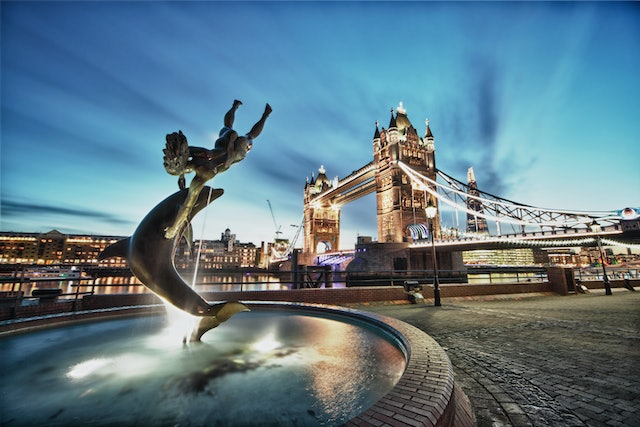 Tower Bridge and St Katharine Docks Girl with a dolpin fountain