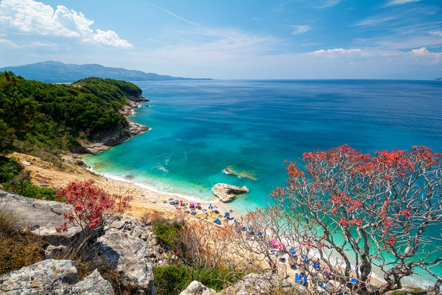 view on Pulebardha Beach between Ksamil and Saranda in Albania