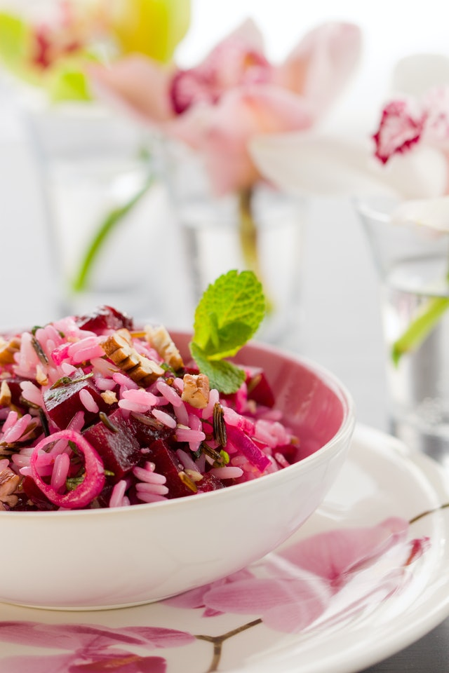 beetroot salad with rice(long-grain rice with wild rice),nut,onion,mint