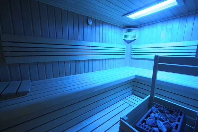 Blue finnish sauna with chromotherapy